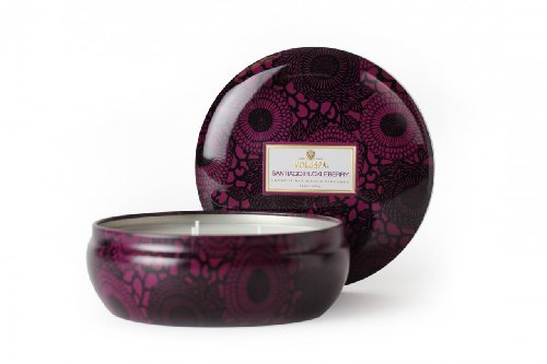 (Voluspa Decorative 3 Wick Tin/Santiago Huckleberry, 12oz Tin)
