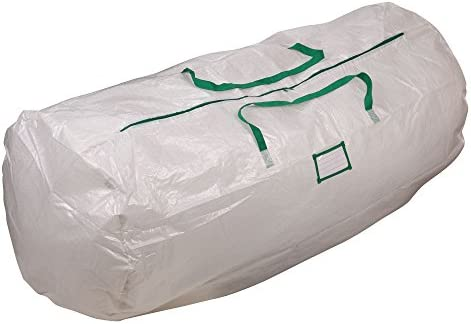 Household Essentials 6032 MightyStor Artificial Christmas Tree Storage Bag with Handles | White with Green Trim