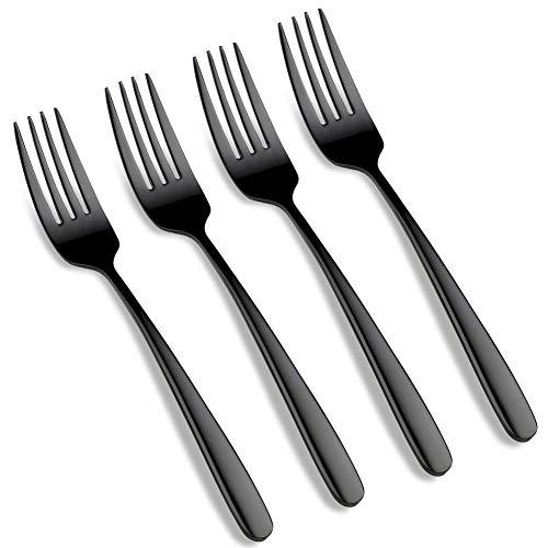 18/10 Stainless Steel Forks, Silverware Titanium Plated Flatware Fork sets Mirror Polished Cutlery Black Fork Dishwasher Safe (Black- Fork 4 pcs)