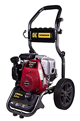 BE Power Equipment Workshop Series Gas Pressure Washer Powered by Honda GC160 Engine, 2700 PSI at 2.3 GPM, Grey