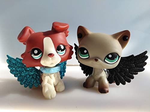 (Ship from US) Love Pets LPS Short Hair Cat #391#1262 Gray Short Hair Cat Red and Tan Collie with lps Accessories Wings Cute Puppy Kids' Gift