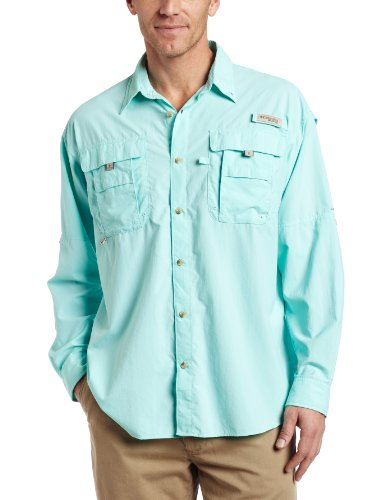 Columbia Men's Bahama II Long Sleeve Shirt, Gulf Stream, Large