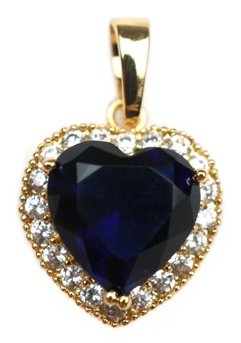 Blue Sapphire Crystal Love Heart and Cz Gold Layered Pendant with Chain Necklace