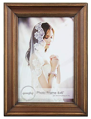 Yaetm Solid Wood Picture Frame 4x6, Distressed Wooden Photo Frame, Table Top and Wall Mounting Display, Vertical or Horizontal, Real Glass, Brown