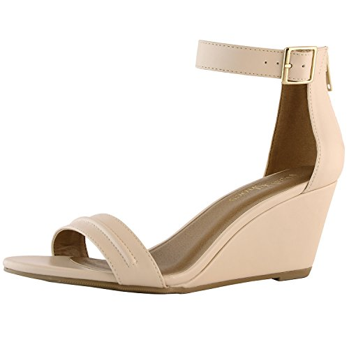 Open Toe Patent Leather Wedges (DailyShoes Women's Women's Summer Fashion Design Ankle Strap Buckle Low Wedge Platform Heel Sandals Shoes, Beige PU, 9 B(M))