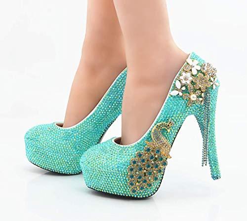 Cristal Para Hecho De Diamond Tacón Ab Mujer Vestido Nupcial 8cm Mano Banquete A Boda Alto Rhinestones Zapatos Phoenix Shiney Y17xwYE