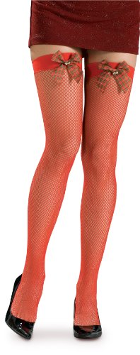 - Rubie's Christmas Hosiery Fishnet Thigh Highs With Plaid Bow, Red, One Size Costume