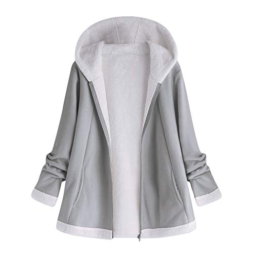 Ros1ock Women's Sweaters Plush Warm Coat Jacket Pocket Zipper Long Sleeve Hoodie Solid Casual Tops Gray