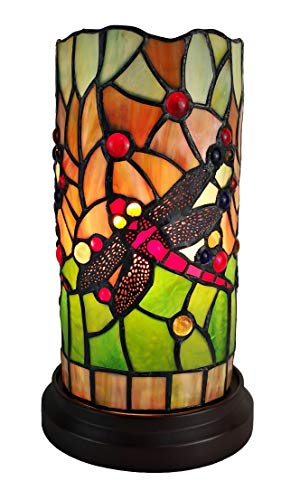 Amora Lighting Tiffany Style Accent Lamp 10 Tall Stained Glass Yellow Red Dragonfly Floral Vintage Antique Light Decor Nightstand Living Room Bedroom Gift AM1015ACCB, Multicolor