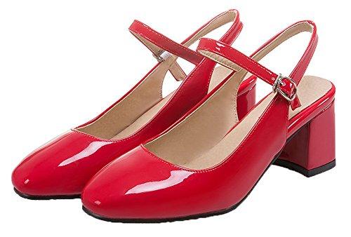 VogueZone009 Women's PU Kitten-Heels Buckle Square Toe Pumps-Shoes Red G6L1w43d