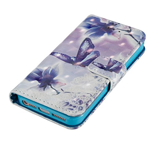 Funda Iphone 5 / 5S / SE, Hermoso Funda Libro de Cuero Flip Cover con TPU Case Interna Para Iphone 5 / 5S / SE, Wallet Case con Soporte Plegable, Ranuras para Tarjetas y Billete Farfalle in amore