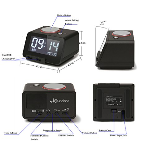 Multi-Function Alarm Clock, Indoor Thermometer, Charging Station/Phone Charger with Dual Port USB Compatible with iPhone/ipad/iPod/Android Phone&Tablets(Black)