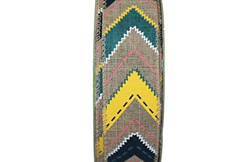 50 Yard X 1.5 Inch Wired Designer Ribbon - Woven Western Zig Zag