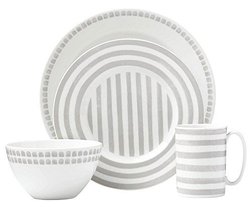 Kate Spade New York Charlotte Street North Grey 4-Piece Dinnerware Place Setting, White and Grey Porcelain ()