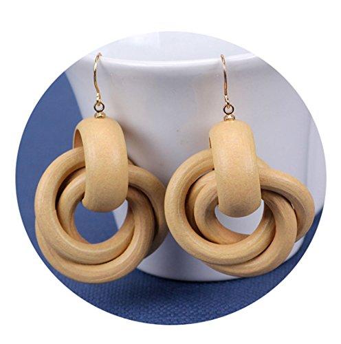 Wooden Earrings for Women Big Statement Circle Beautiful Hoop Earrings (Wood (Wooden Fashion Earrings)