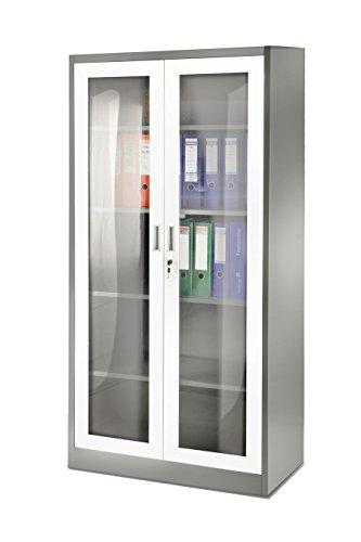 Aktenschrank Flügeltür aus Glas 185 cm Medizinschrank Metallschrank Büroschrank Universalschrank Flügeltürschrank Stahlschrank Lagerschrank Ideal für Büro Verschließbar NEU (weiß/grau)