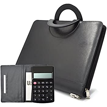 leather portfolioizbuy resume business organizer note pad folder with foldable handle letter size equipped with business card page binder pockets