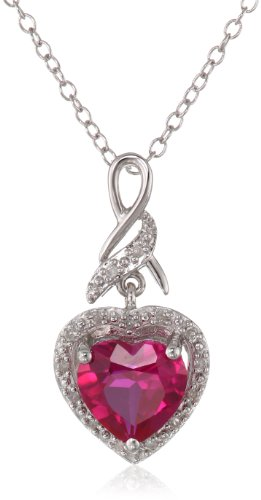 "Sterling Silver Created Ruby and Diamond Heart Pendant Necklace (0.06Cttw, G-H Color, I2-I3 Clarity), 18"" from Amazon Collection"