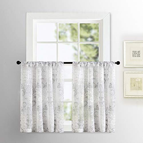 Sheer Curtain Tiers Cafe Curtains 36 inches Long Kitchen Tiers Gray Scroll Printed Damask Design Rod Pocket Half Window Curtains Medallion Flower Print Bathroom Small Window 2 Panels Grey on White (Curtains Gray Cafe)