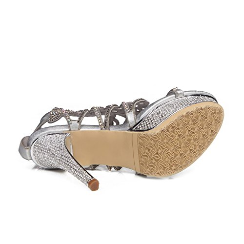 Summer for Dress Leather HUAN Chain Party Silver Toe Women's Boots Shoes Sandals Buckle Open Sparkling Crystal Rhinestone Fashion Spring Glitter IwfTw