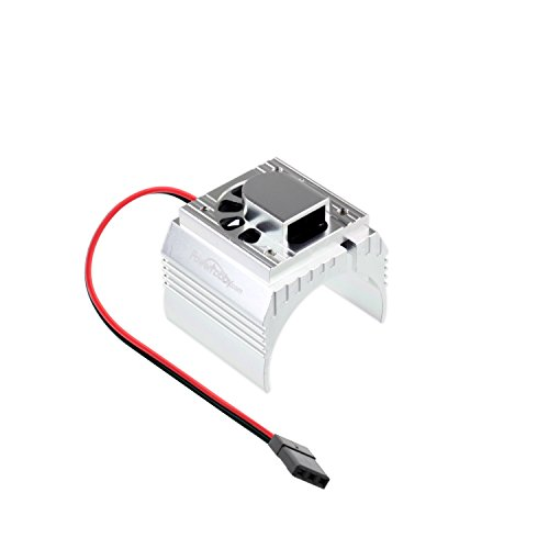 PowerHobby Aluminum Motor Heatsink + Cooling Fan For 1/8 Size Motors Fits : Castle Creations 2200kv + 2650KV Motors, Dynamite, Hpi, Novak, Trinity, Arrma Nero, Kraton, Fazon, Outcast, Tekin (Silver)