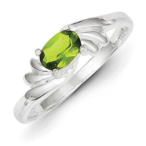 925 Sterling Silver Polished Lime Green Oval CZ Fancy Ring Size 8 Lime Green Cubic Zirconia Ring