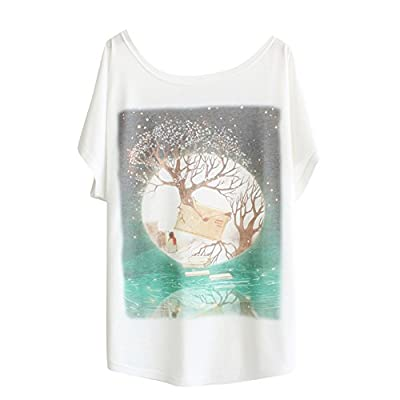 Haogo Women's Fantasy Wonderland Print Short Sleeve T-shirt Tops
