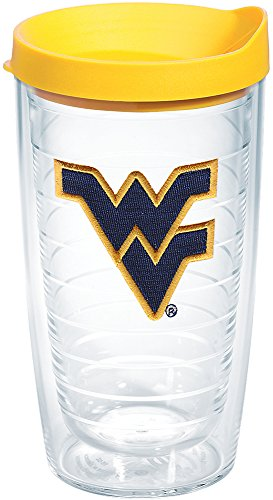 Tervis 1062567 West Virginia Mountaineers Logo Tumbler with Emblem and Yellow Lid 16oz, ()