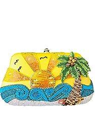 Ltd Edition Beaded Sun Ocean Palm Tree Handbag