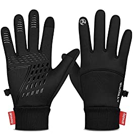 Yobenki Winter Warm Gloves, Anti Slip Touchscreen Gloves Windproof Thermal Gloves Cold Weather Cycling Gloves for Men…