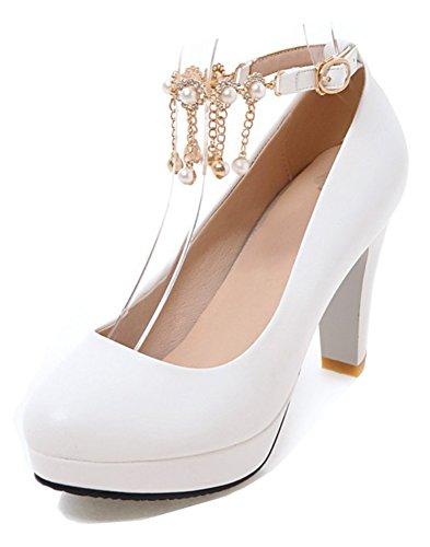 Aisun Femmes Perlé Strass Bout Rond Talon Chunky Haut Habillé Boucle Cheville Sangle Pompes Chaussures Plate-forme Blanc