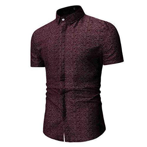 MIUCAT Fashion Men's Summer Print Turn-Down Collar Slim Fit Button-Down Short Sleeve Shirt Top Blouse Red