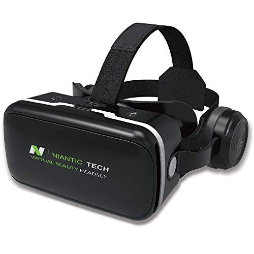 VR Headset for iPhone and Android Phone | VR Goggles | Virtual Reality Headset with Headphones | 2018 Version by Niantic Tech NTVR-G04E
