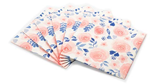 Watercolor Flower Print Cocktail Napkins Set | Decorative & Disposable Paper Napkins for Weddings, Birthdays, Baby Showers, Holiday Events | Fun & Festive Floral Patterns Bursting with Vibrant Color ()