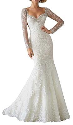 DAPENE® Women's Lace Sweetheart Illusion Sleeve Mermaid Bridal Wedding Dress