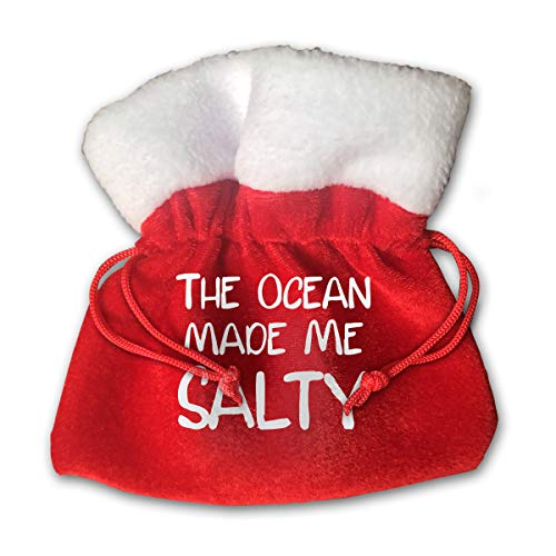(CYINO Personalized Santa Sack,The Ocean Made Me Salty Portable Christmas Drawstring Gift Bag)