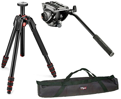 Manfrotto 190Go Aluminum 4 Section Tripod Kit With MVH500AH Lightweight Fluid Video Head With Flat Base and a Vidpro 35'' Padded Case by Manfrotto