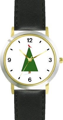 Christmas Tree (Green Pine) with Red Cardinal on Top - Christmas Theme - JP - WATCHBUDDY® DELUXE TWO-TONE THEME WATCH - Arabic Numbers - Black Leather Strap-Size-Women's Size-Small