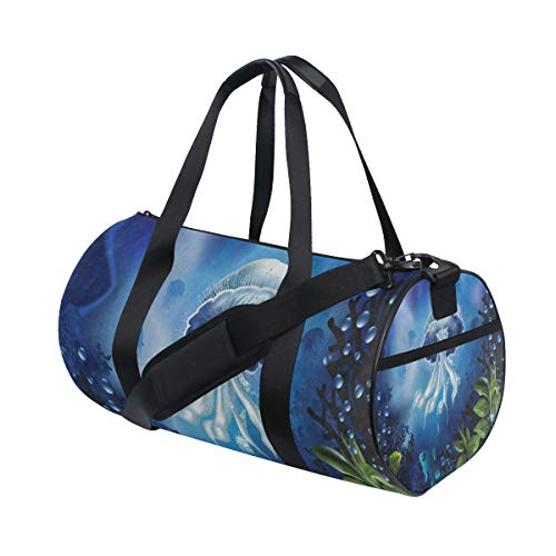 (Sports Bag Ocean Jellyfish Coral Reef Mens Duffle Luggage Travel Bags Womens Lightweight Gym bag)