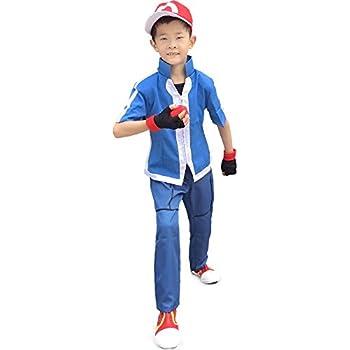 Miccostumes Boy's Pokemon Xy Ash Ketchum Cosplay Costume (Large, Blue)