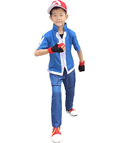Miccostumes Boy's Pokemon Xy Ash Ketchum Cosplay Costume (Medium, Blue) ()