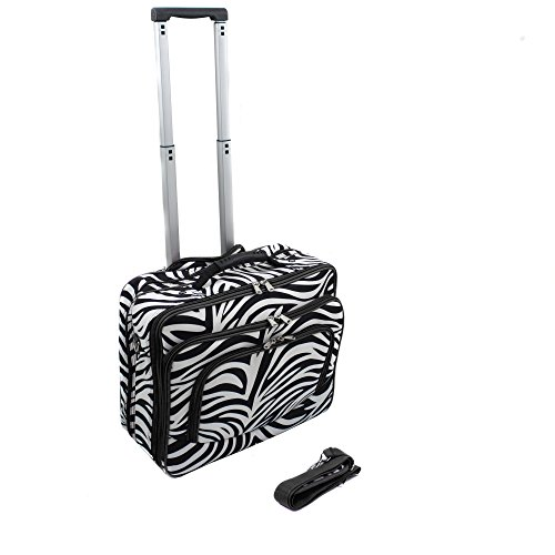 (World Traveler Vogue Fashion Ladies Rolling Laptop Computer Briefcase - Black Trim Zebra)