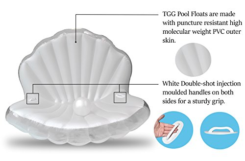 TGG Colossal Sea Shell Pool Float/ Swimming Pool Inflatable Raft 62 x 54 x 54 inches (Pearl White w/ White Handles) by Tgg (Image #3)