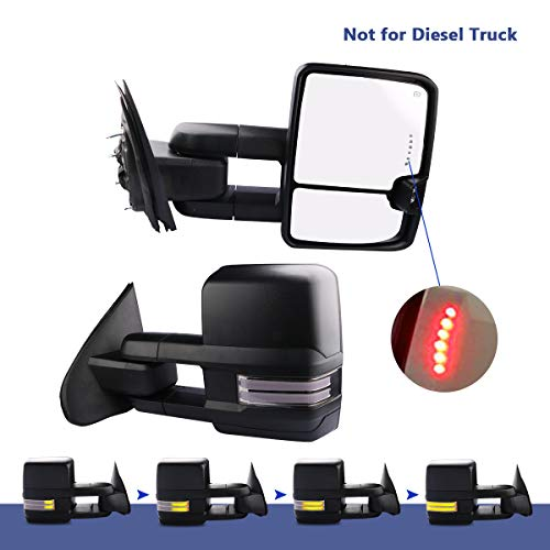 MOSTPLUS New Power Heated Towing Mirrors for Chevy Silverado GMC Serria 2014-2018 w/Sequential Turn light, Clearance Lamp, Running Light(Set of 2) Not for Diesel Truck ()