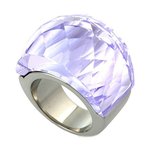 Stainless Steel Rings, Women's Bands Gothic Retro Transparent Glass Size 9 Light Violet Purple - Glasses Uk Ysl