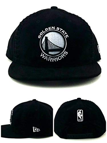- New Era Golden State Warriors Suede Team Interlace Black White Snapback Hat Cap