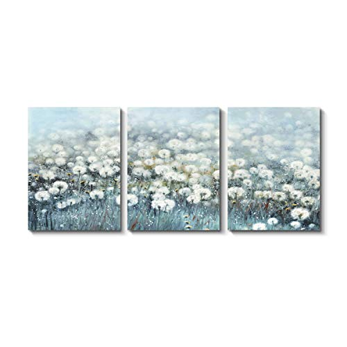 Grander Group Abstract Flower Canvas Wall Art - Dandelion Artwork Print Painting on Canvas for Dining Room (16'' x 12'' x 3 Panels)