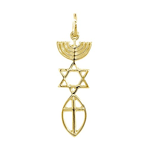 Small Messianic Seal Jewelry Charm with Large Cross in 14K Yellow Gold