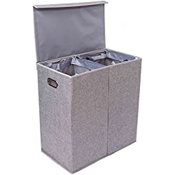 BirdRock Home Double Laundry Hamper with Lid and Removable Liners   Linen   Easily Transport Laundry   Foldable Hamper   Cut Out Handles