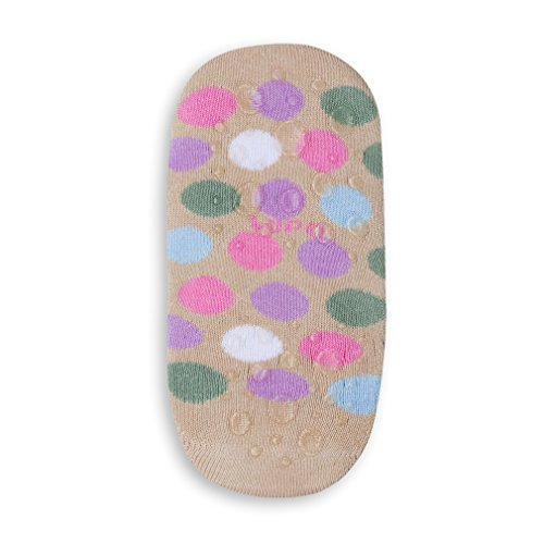 Lupo Women's Dots Terry No Show Yoga Pilates Slipper Grip Socks, Medium Purple